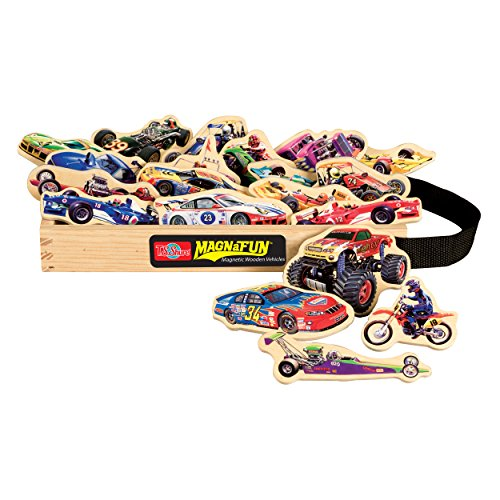 T.S. Shure Race Cars Wooden Magnets 20 Piece MagnaFun Set