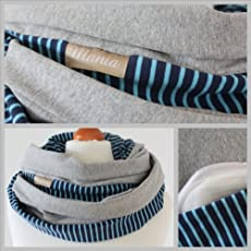 Mania Breastfeeding scarf 'Blue Stripes' with small pocket for nursing pads in size S/M