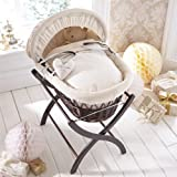 Izziwotnot Cream Premium Gift Wicker Moses Basket, Dark