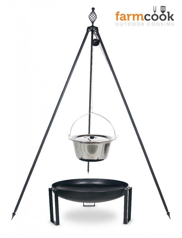 Dreibein Grill OSKAR Höhe 210cm + Topf 14 Liter aus Edelstahl + Feuershale Pan36 kaufen