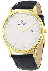 Festina F6829-1 Mens Gold Plated Leather Strap Watch