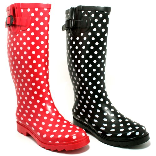 New Black/Red Spot Festival Wellies