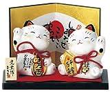 縁起置物 お金招き・人招き猫M-3187