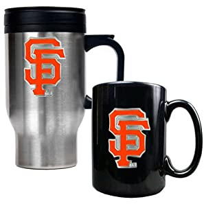 MLB San Francisco Giants Stainless Steel Travel Mug & Black Ceramic Mug Set -... by Great American Products
