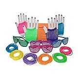 80s Rock Star Or Pop Dress-Up Set For 12 - 12 Pairs Fingerless Fishnet Wrist Gloves, 12 Sunglasses,