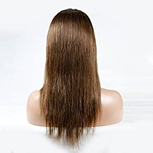 Doubleleafwig Front Lace Wig 100% Real Human Hair Remy Brazilian Hairs Handmade Pop Wigs Natural Straight 26 Inch (4# Medium Brown)