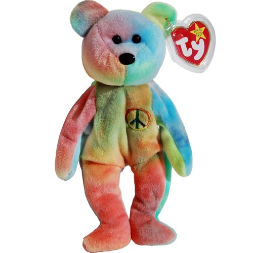 Peace the Neon Ty-Dyed Teddy Bear - MWMT Ty Beanie Babies