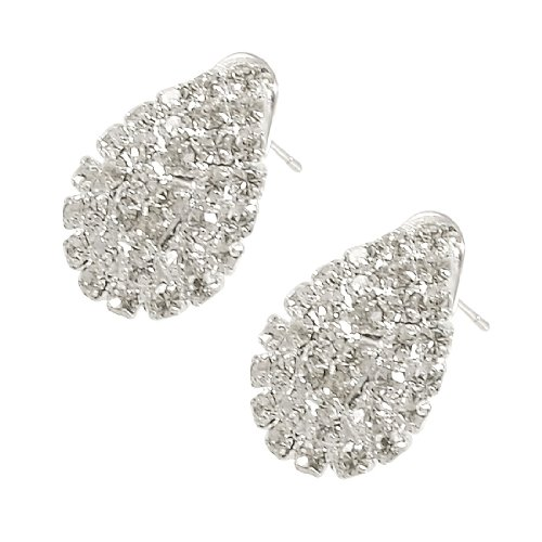 Rosallini Woman Lady Rhinestone Detailing Water Drop Earbob Pierced Earrings Pair