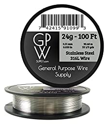 GPW Supply - Stainless Steel 316L 24g 100 ft Craft Wire