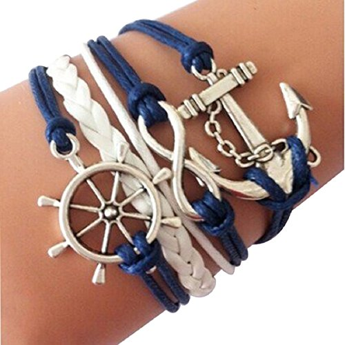 Doinshop Infinity Love Heart Pearl Friendship Antique Leather Charm Bracelet (blue2)