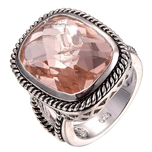 Weina Women's 925 Sterling Silver 11.98cttw Gemstone Filled Huge Morganite Ring Size 6 (Sterling Gem Rings compare prices)