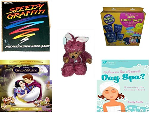 [Girl's Gift Bundle - Ages 6-12 [5 Piece] - Speedy Graffiti Game - Denim Lunch Bags Party Kit Toy - Teddy Bear Plush In Purple Mouse Costume 12