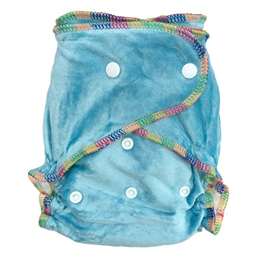 Natural Bamboo Velour Fitted One Size Cloth Diaper w/ 2 Inserts -Caribbean Blue