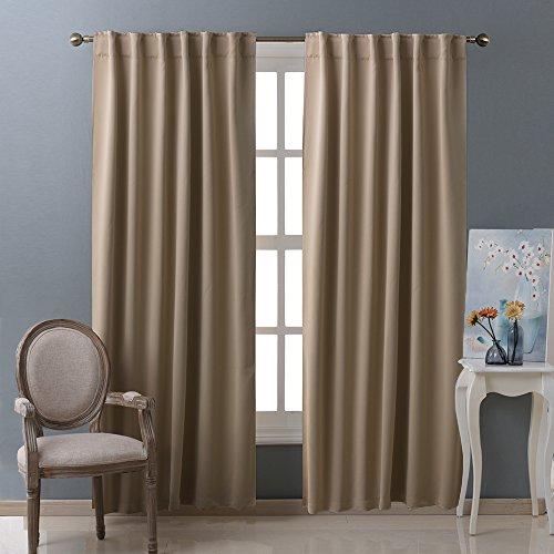 Window Curtains Blackout Drapery Panels Taupe Khaki Color 52 Width X 95 Length Each Panel