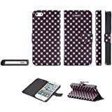 Kobwa(TM) Black/Pink Polka Dot Leather Flip With Stand Case Cover fit for the new iPhone5/5S With Kobwa's Keyring