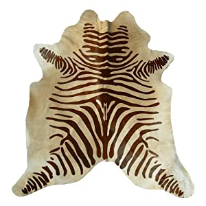 Zebra Brown on Beige Brazilian Cowhide Rug, Large 5ft. X 7ft.