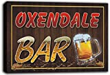 scw3-094953 OXENDALE Name Home Bar Pub Beer Mugs Cheers Stretched Canvas Print Sign
