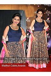 Designer Prussian blue VELVET & NET Bollywood Replica Dress.