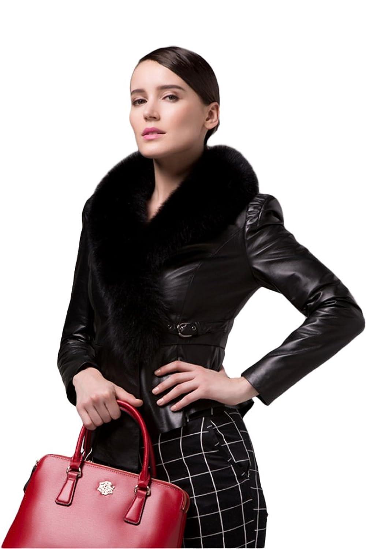 queenshiny Damen 100% Echte Schaf Leder Weste Vest Jacke mit Fuchs Pelz Kragen günstig bestellen
