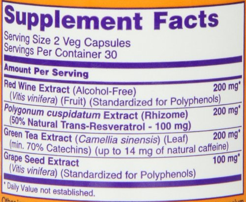 Now Foods Natural Resveratrol  Mg  Veg Capsules