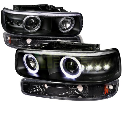 Chevy Silverado Tahoe Suburban Black Halo Led Projector headlights, bumper light (99 Chevy 1500 Headlights compare prices)
