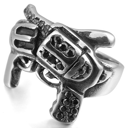 Men'S Stainless Steel Ring Cz Silver Black Gun Pistol Unique Size11