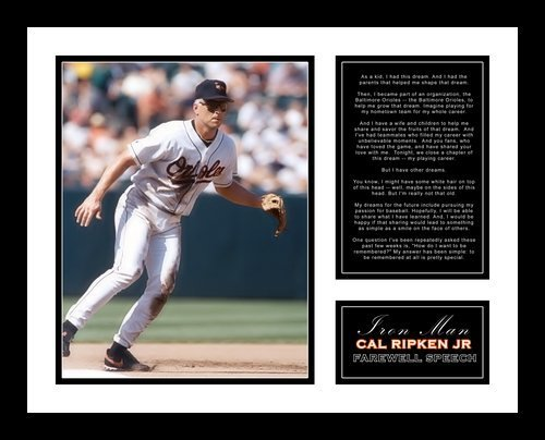 All About Autographs AAA-58005 Cal Ripken Jr Baltimore Orioles MLB Framed Photograph Last at Bat with Farewell Retirement Speech at Oriole Park