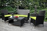 Merax Outdoor Garden Furniture Set 4 Piece Patio PE Rattan Cushioned Sofa Set LoveSeat and Chair Sofa Furniture Seat (Green Cushion)
