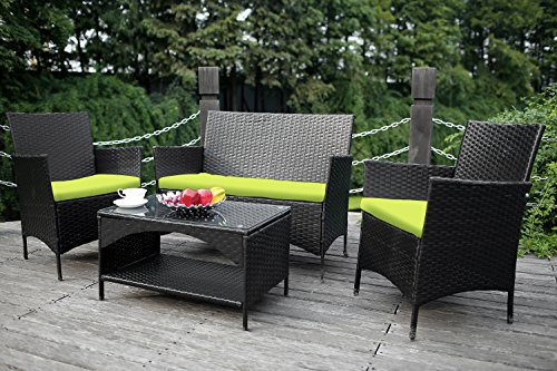 Merax outdoor garden furniture set 4 piece patio pe rattan cushioned sofa set loveseat and chair - Must have pieces for your patio furniture ...