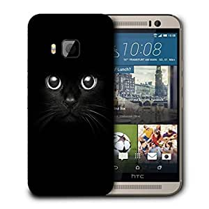 Snoogg Black Cat Designer Protective Back Case Cover For HTC ONE M9