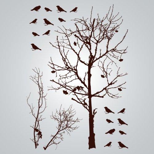 DCWV Wall Art Birds In Tree, Peel Stick, Brown Part 51