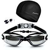 #1 Rated Swim Goggles On Amazon - 2016 Atelic® Best Swimming Goggles Swim Cap Set Non Leaking - Adjustable for Men Women Youth Kids - UV Protection Anti Shatter Clear Vision Anti Fog Lenses