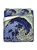 JAPAN MANIA by MANIFATTURE COTONIERE Juego De Funda Nórdica Katsushika Hokusai-Feminine Wave (Azul/Multicolor)