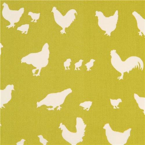 Tissu bio vert citron avec des silhouettes de poulets crème clair, par birch