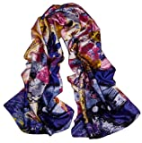 Oblong Satin Oil Painting Design Long Silk Scarf Shawl (ls5031)