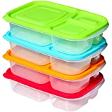 Premium Bento Box Lunch Containers (4 Pack) - 3 Divided Compartments (Not leakproof) Sunsella Buddy Boxes With Multi Colored Lids
