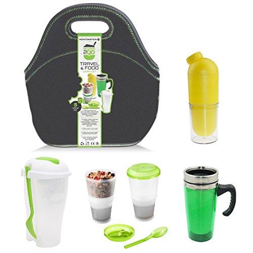 Brunch2Go - Un ensemble pour apporter la nourriture en voyage ou au travail, composé de 5 pièces avec un rangement à compartiments pour salade ou déjeuner, un contenant céréales/muesli avec un système de refroidissement, une bouteille pour l'eau, une tasse pour les boissons chaudes et un sac - pour le déjeuner et la collation de l'après-midi.