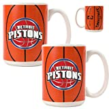 Detroit Pistons NBA 2pc Ceramic Gameball Mug Set - Primary Logo