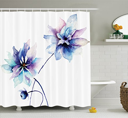 watercolor-flower-decor-shower-curtain-set-by-ambesonne-elegant-flower-drawing-with-soft-spring-colo