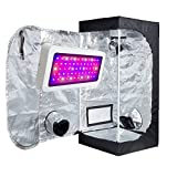 TopoLite 300W/ 600W/ 800W/ 1200W Full Spectrum LED Grow Light + Multiple Size Grow Tent Dark Room Indoor Hydroponic System Kit (LED 300W, 24