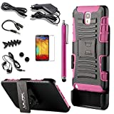Pandamimi ULAK(TM) Slide Belt Clip Holster Kick Stand Hard Cover Case for Samsung Galaxy Note 3 Note III N9000 with 9 Accessories - Screen Protector/Cleaning cloth/Application/Headphone/USB Cable/Car Charger/Touch Stylus/Earphone Splitter Cable (1 in 2 out)/Fishbone Shape Earphone Cord Winder Newest 11 in 1 (Rose Pink & Black)