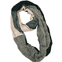 Women Gradient Infinity Circle Ring Fashion Scarf-Black Beige-Medium
