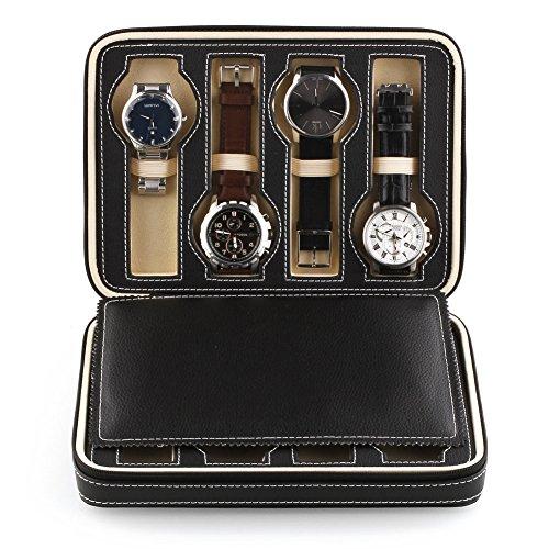 Amzdeal 8 Slot Zippered Traveler's Watch Bracelet Bangle Display Storage Case, Black (Bangle Display Case compare prices)