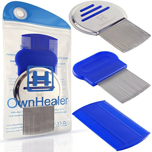 Head Lice Comb Set for Fast, Safe Premium Quality Removal of Lice Eggs and Nits. Best Results for Head Louse Treatment on all different types of hair exclusively from OwnHealer ! (Lice Lifters compare prices)