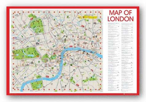 Map of London England Art Print Poster - 24x36