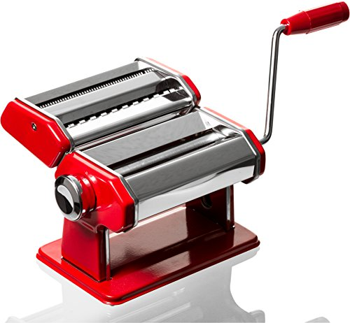 Professional Grade Pasta Maker - Stainless Steel Pasta Machine - Red Pasta Roller Spaghetti Noodle Maker (Imperial Pasta Machines compare prices)