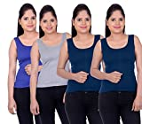 LIENZ Women Camisole Tank Top Blue, Grey and Navy Blue Color - Pack of 4