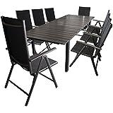 7tlg-Gartengarnitur-Aluminium-Gartentisch-ausziehbar-mit-Polywood-Tischplatte-220280x95cm-Alu-Hochlehner-2x2-Textilenbespannung-Gartenstuhl-mit-7-fach-verstellbarer-Rckenlehne-Sitzgruppe-Sitzgarnitur-
