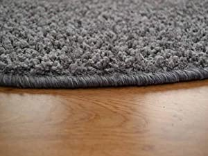 Cargo Semi Circular Silver Grey Shaggy Pile Rug. Available in 5 Sizes. (70cm x 137cm Half Moon) by Rugs Supermarket