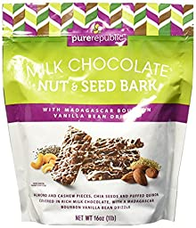 Pure Republic Milk Chocolate Nut & Seed Bark - Almond and Cashew Pieces, Chia Seeds and Puffed Quinoa Covered in Rich Mild Chocolate, with a Madagascar Bourbon Vanilla Bean Drizzle